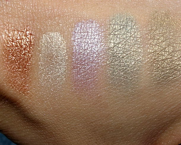 Laura Mercier Fairy Dust Eye Shimmer Swatches from the left: Crushed Copper, Crushed Platinum, Crushed Amethyst, Crushed Lapis and Crushed Opnyx