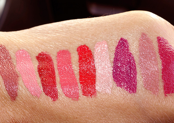Laura Mercier Paint Wash Liquid Lip Colour Swatches from the left: Petal Pink, Red Brick, Coral Reef, Vermillion Red, Golden Peach, Fuchsia Mauve, Nude Rose and Orchid Pink