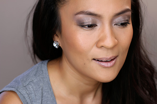 MAC Studio Eye Gloss in Lightly Tauped and Eyeshadow X 6 in Stroke of Midnight on my lids