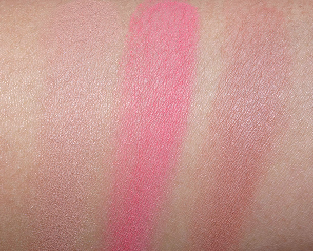 Rouge Bunny Rouge Original Skin Blush For Love of Roses swatches from the left: 033 Delicata, 036 Orpheline and 038 Habanera