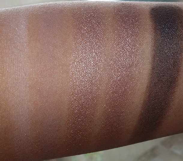 MAC Cool Neutral palette middle row: Pick Me Up, Cozy Grey, Crushed Clove, Deception and Brun