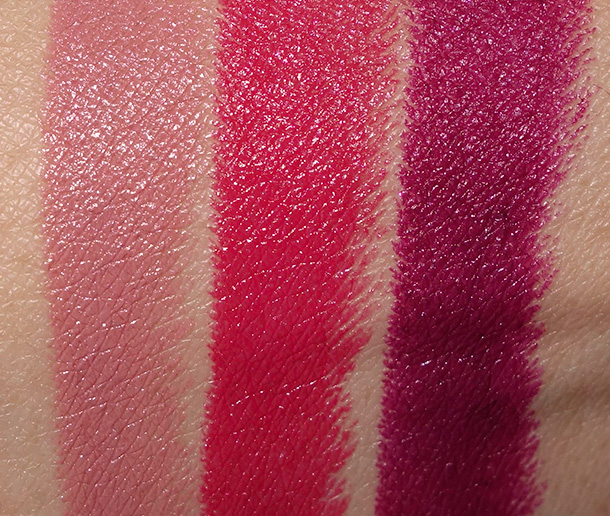 MAC Julia Petit Lipstick swatches from the left: Boca, Petite Red and Acai