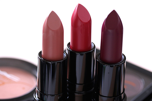 MAC Julia Petit Lipsticks from the left: Boca, Petite Red and Acai