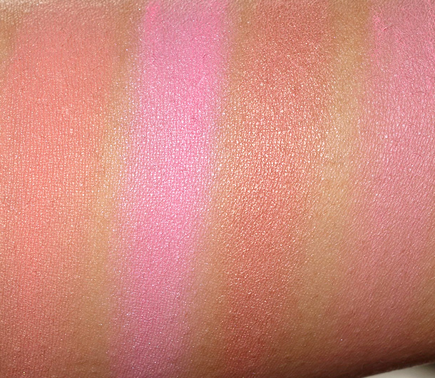 NYX High Definition Blush Swatches from the left: Coraline, Baby Doll, Rose Gold and Hamptons