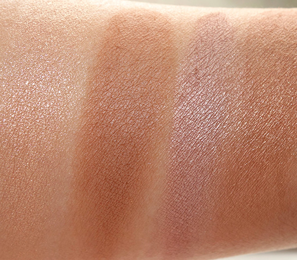 The Little Black Book of Bronzers Bronzer Collection swatches from the left: Snow Bunny, Dark Chocolate Soleil, Pink Leopard and Beach Bunny