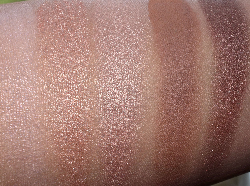 Swatches of the MAC Nordstrom Naturals palette from the left in Vapour ...