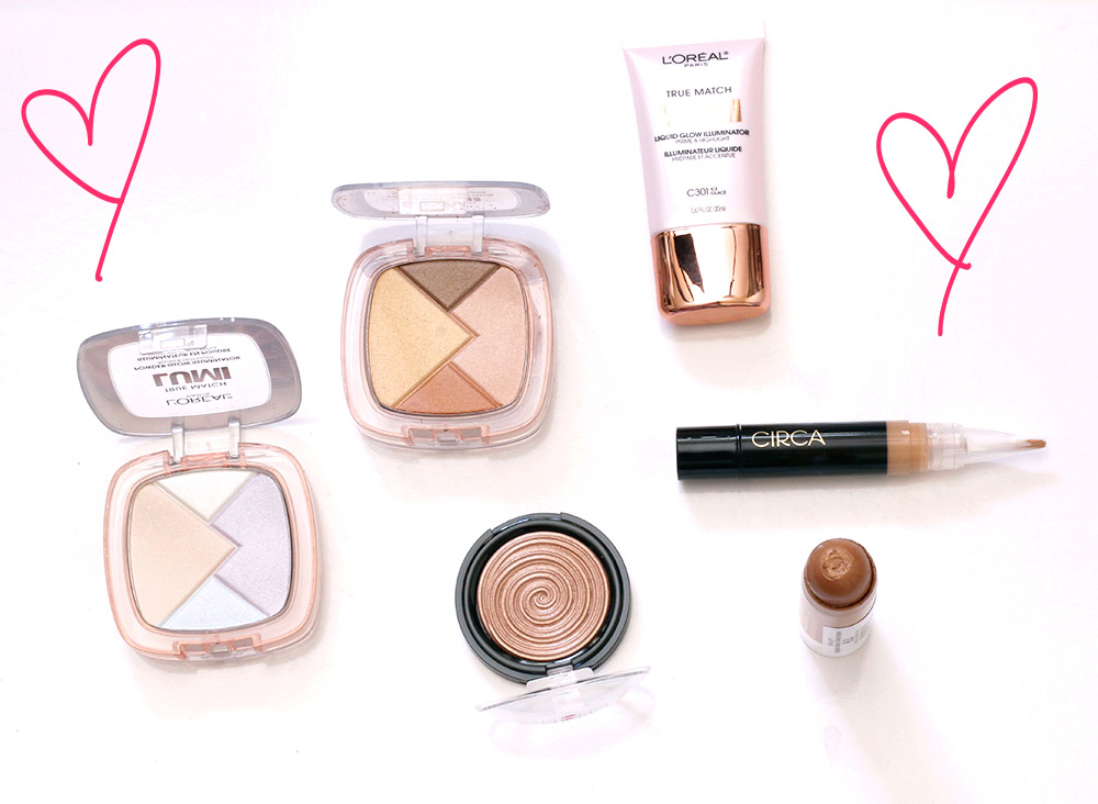 Clockwise from the bottom left: L'Oreal True Match Lumi in Ice ($12.99), L'Oreal True Match Lumi in Golden ($12.99), True Match Lumi Liquid Glow Illuminator in Ice ($12.99), Circa Beauty Magic Hour Illuminating Concealer in 03 Medium ($12), Flower Beauty Glisten Up Highlighter Chubby in Honey Bronze ($9.98), and Laura Geller Baked Gelato Swirl Illuminator in Ballerina ($26)