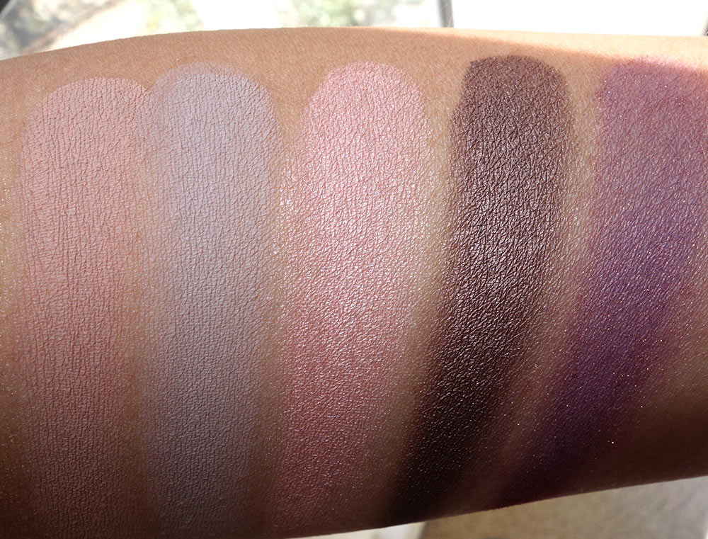 Swatches from the left of the MAC Paint Pots in Layin Low, Camel Coat, Perky and Constructivist; Eye Shadow in Trax
