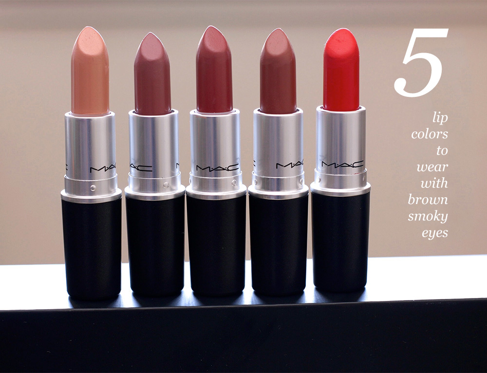 From the left: MAC Cremesheen Lipstick in Creme D'Nude, MAC Amplified Lipstick In Fast Play,  MAC Amplified Lipstick in Brick-O-La,  MAC Satin Lipstick in Mocha and MAC Matte Lipstick in Lady Danger