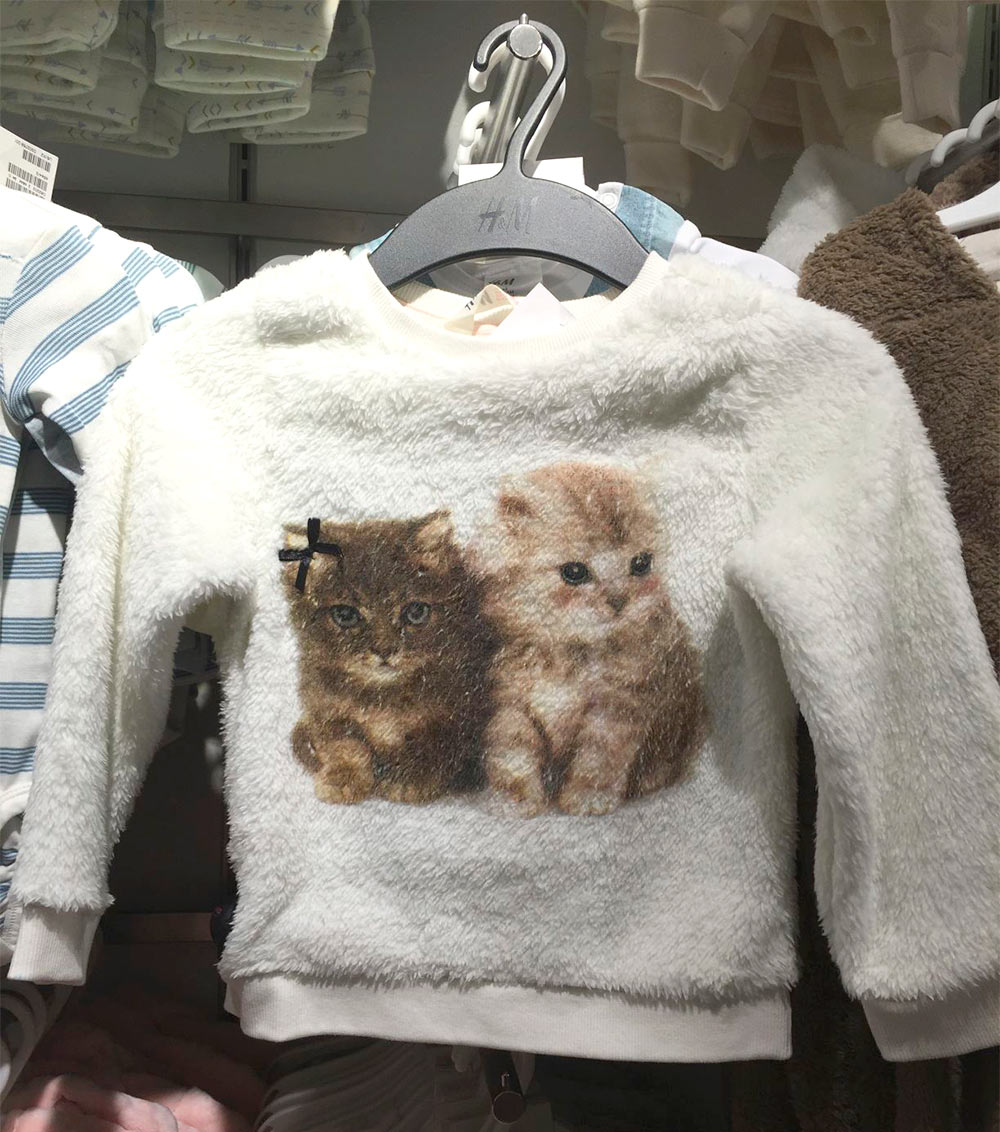 hm cat fuzzy sweatshirt