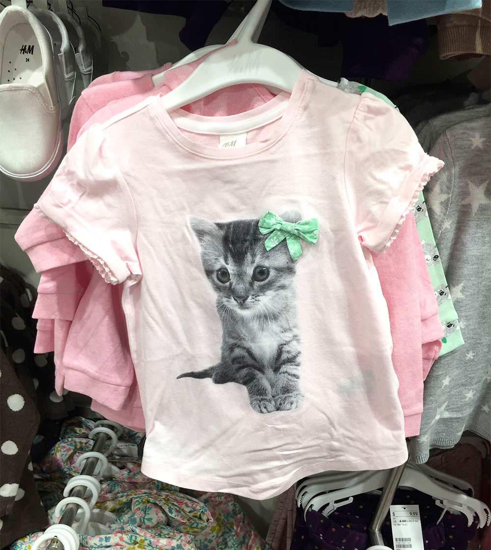 hm pink cat shirt with bow