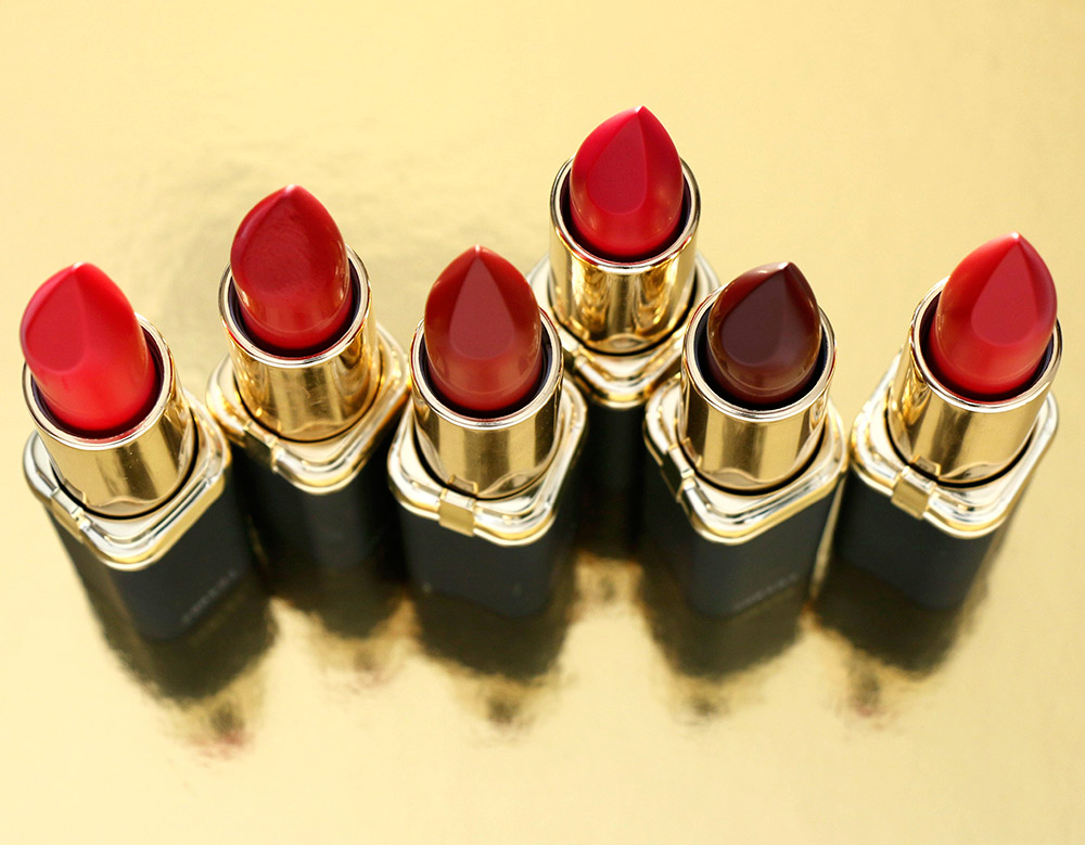 From the left: 401 Julianne's Red, 402 Blake's Red, 403 Eva's Red, 405 Freida's Red, 406 Zoe's Red and 407 Liya's Red