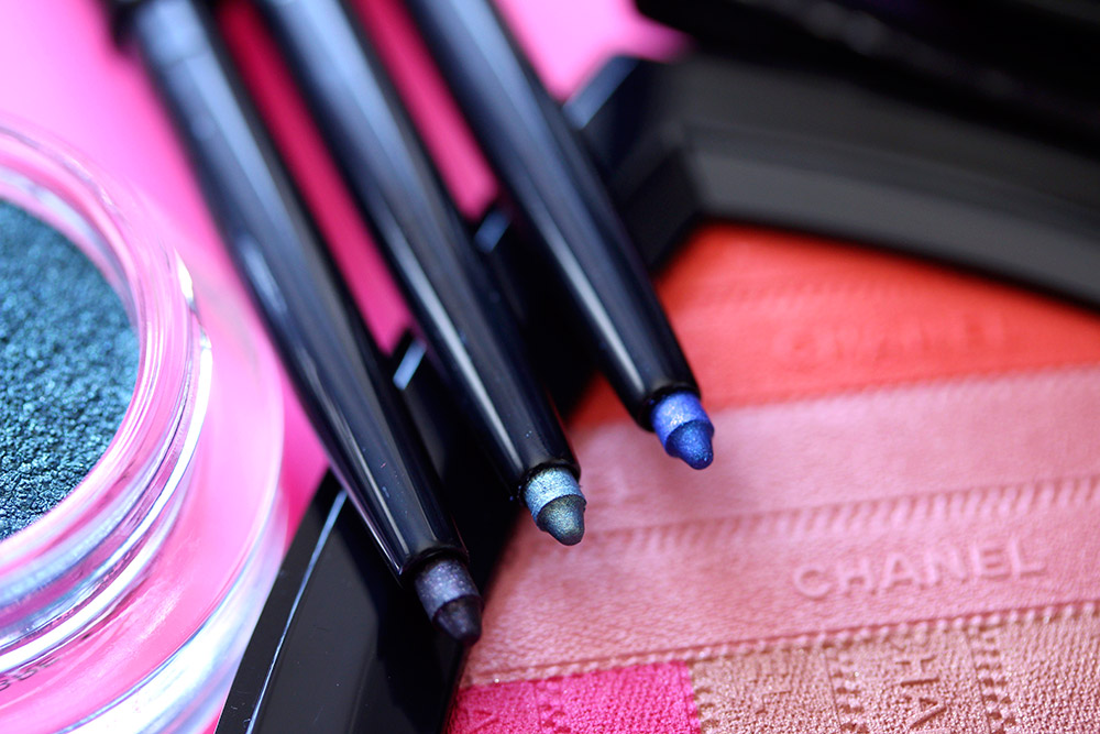 Chanel Stylo Yeux Waterproof Liners from the left: Purple Choc, Pacific Green and Fervent Blue