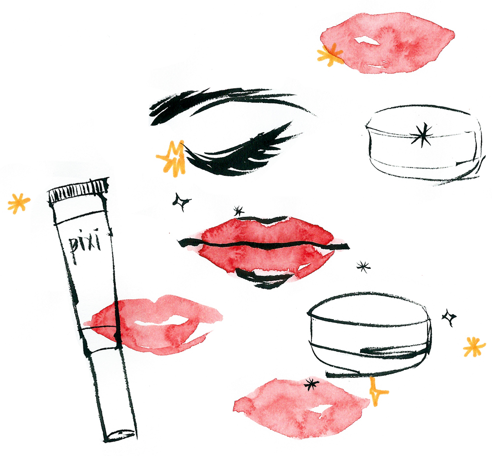 anna oh illustration beauty clinique pixi