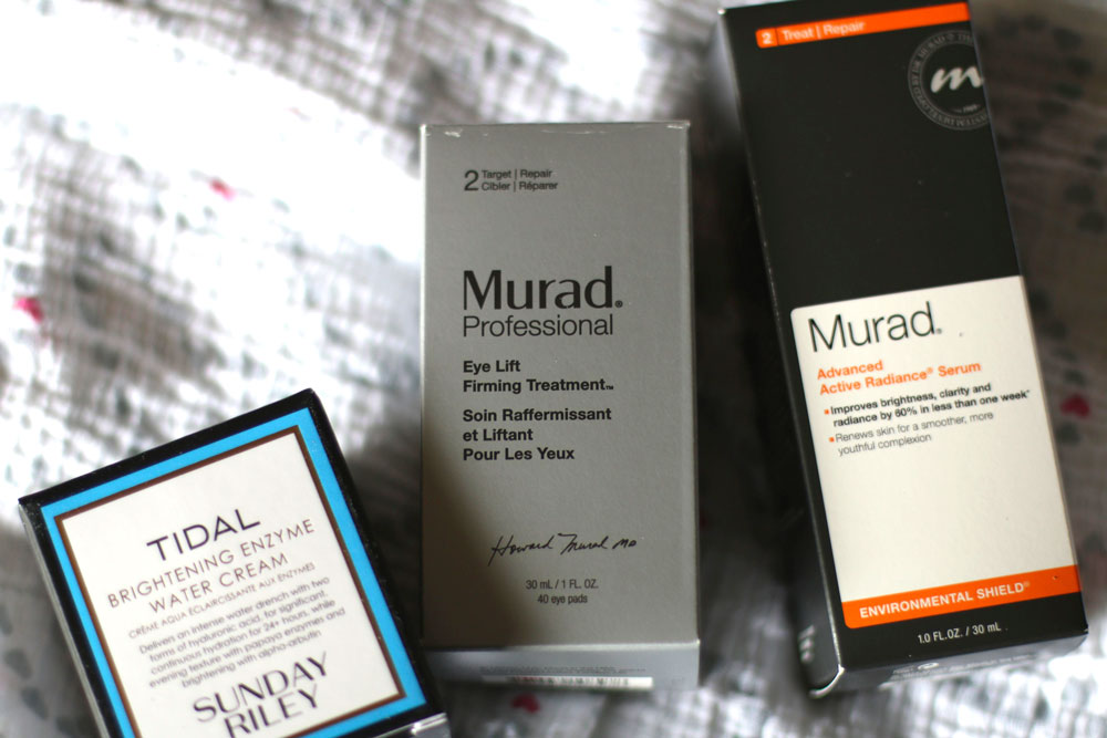 Sunday Riley Tidal Brightening Enzyme Water Cream, Murad Professional Eye Lift Firming Treatment and Murad Advanced Active Radiance Serum