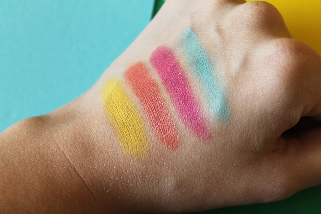 Swatches from left to right: MAC Royal Woo, Electric Mandarin, Mu Mu Bloom, Pale Pippa