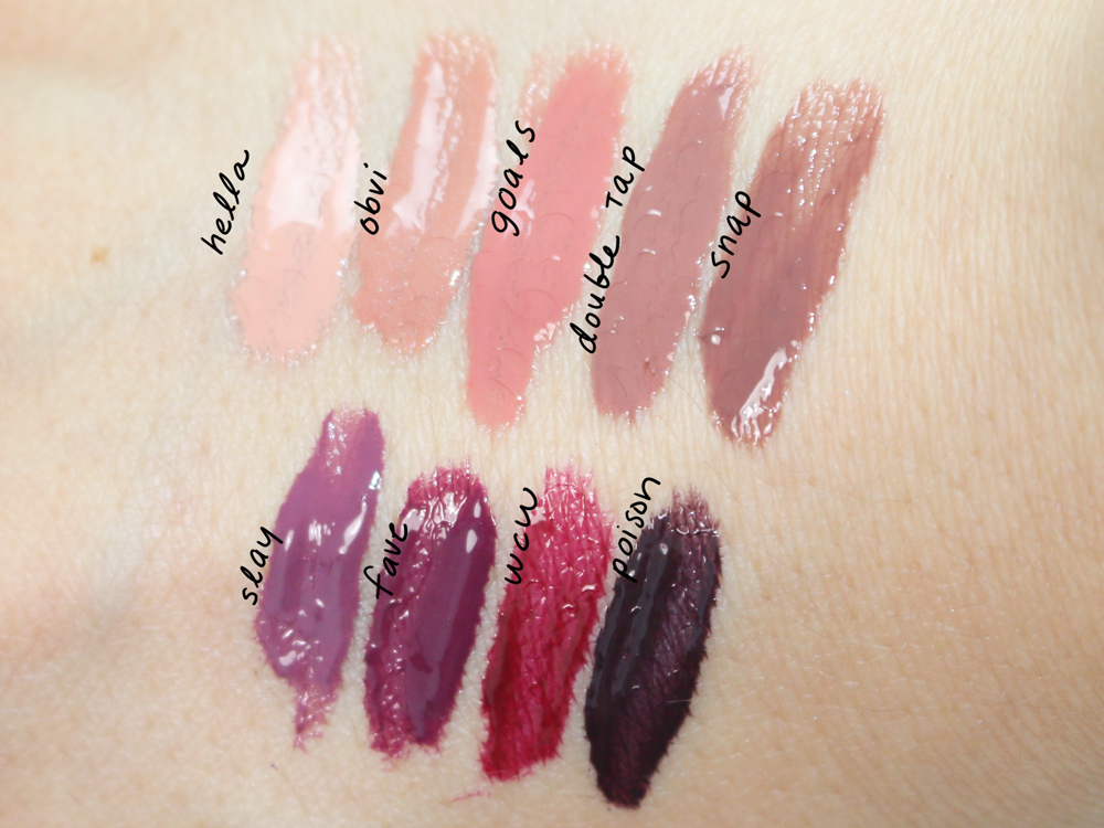 the tarteist glossy lip paints by tarte nine shades from