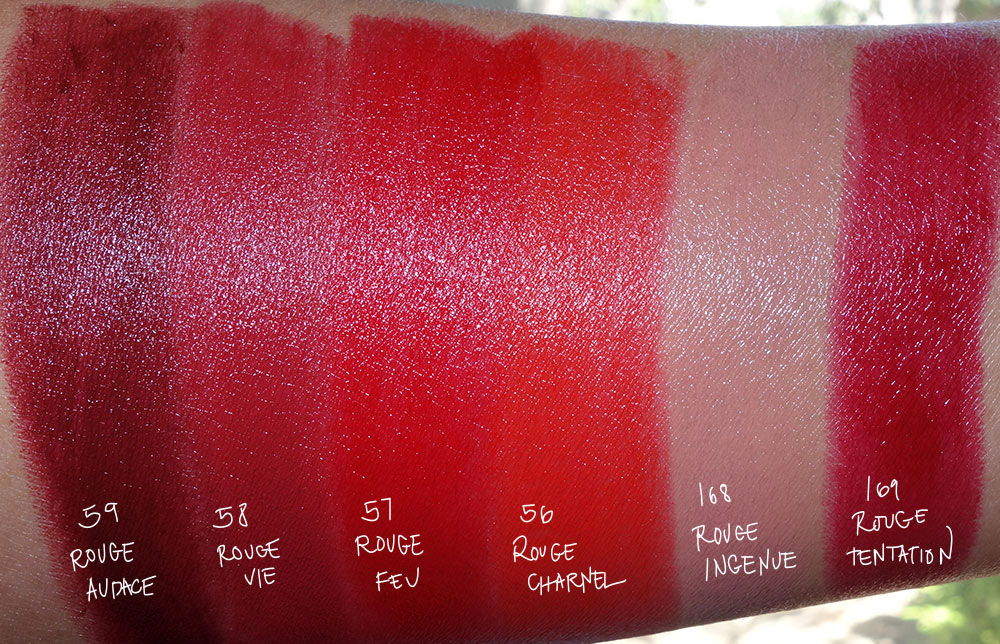 chanel le rouge collection no 1 lipstick swatches