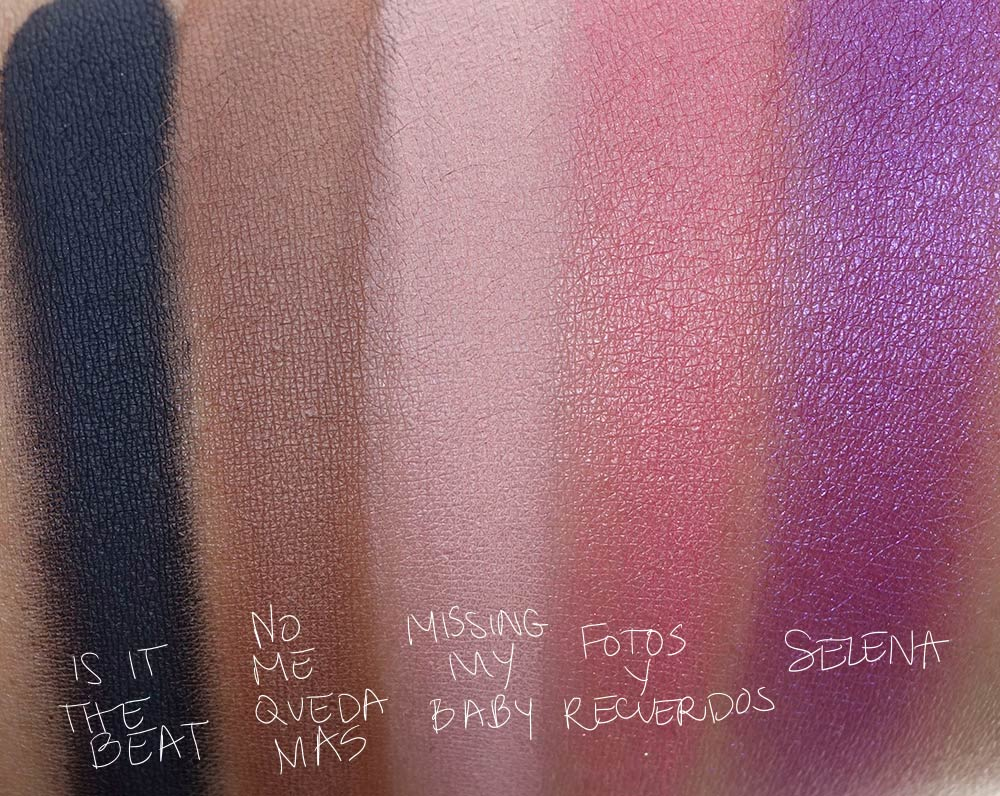 mac selena collection swatches eye shadow