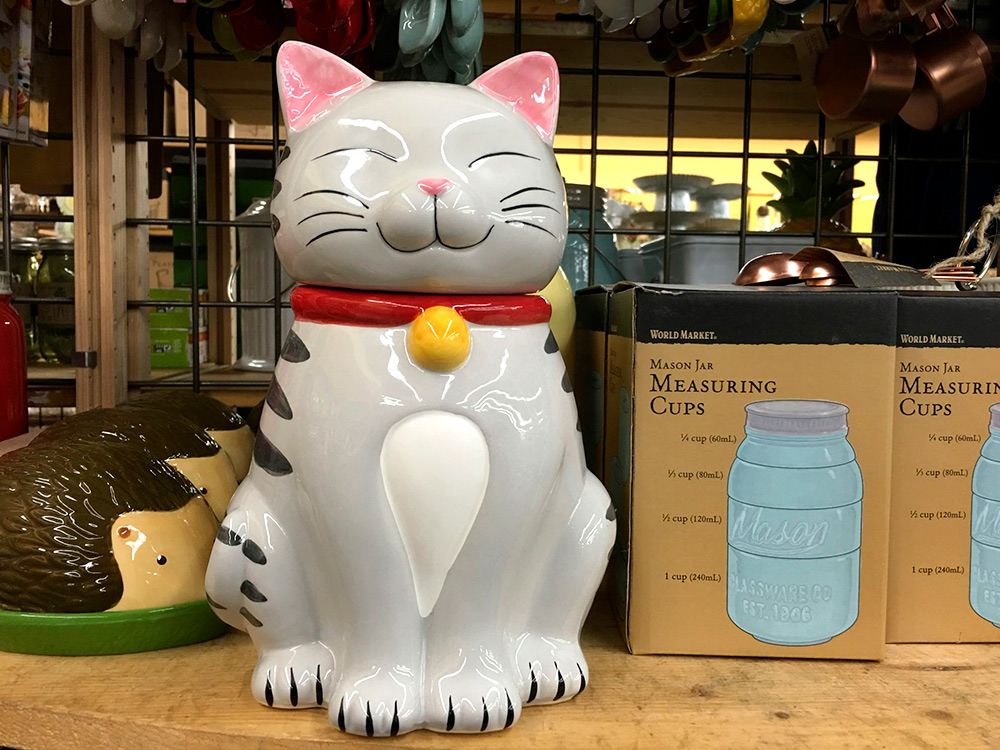 cost plus world market tabby cat cookie jar