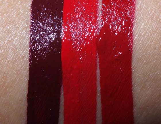 MAC Limited Edition Photographs by Helmut Newton Retro Matte Liquid Lipcolours from the left: Self Portrait, High Heels and Chateau M