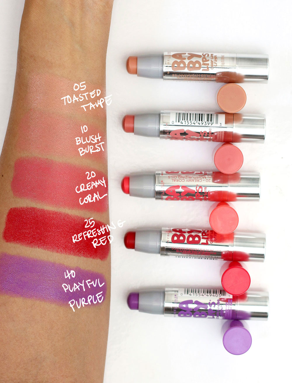 maybelline baby lips color balm crayon swatches