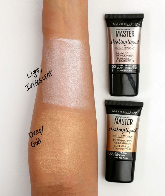maybelline master strobing liquid swatches