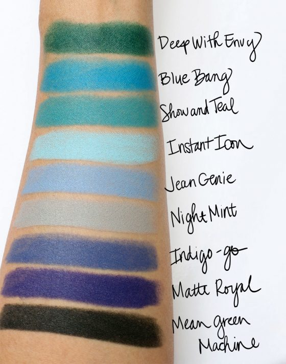 mac colour rocker swatches blues greens