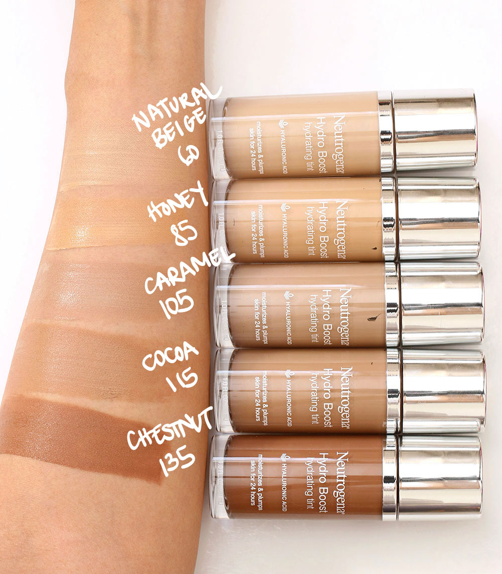 neutrogena hydro boost hydrating tint swatches