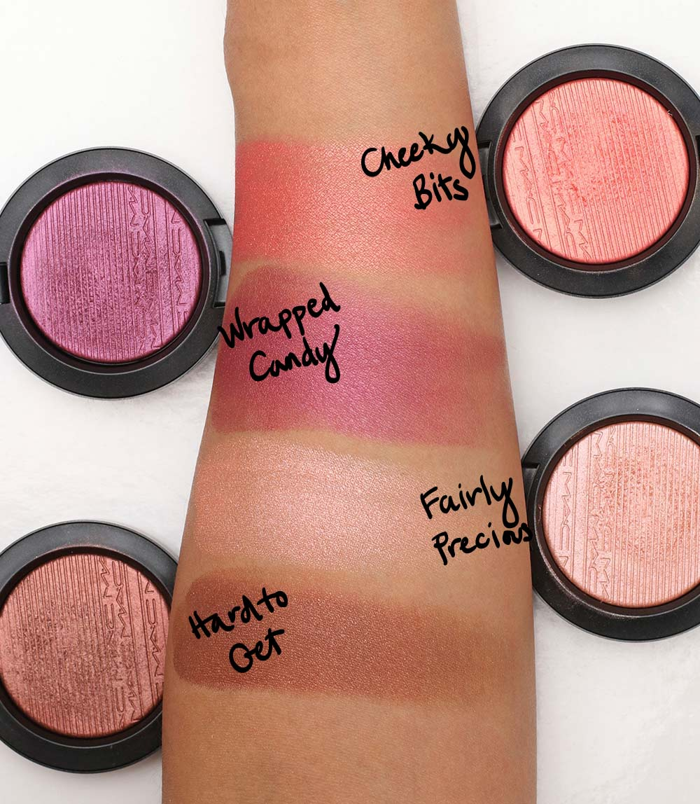 mac extra dimension blush swatches 2