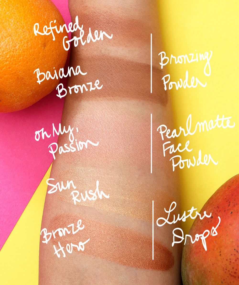 mac fruity juicy swatches bronzer pearlmatte lustre drops