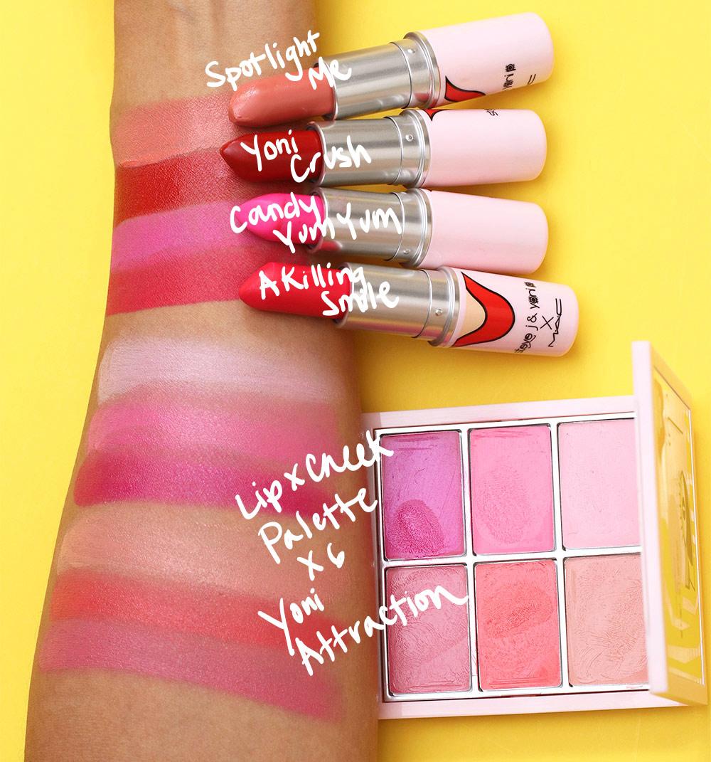mac steve j yoni p yoni swatches lipsticks cheek palette