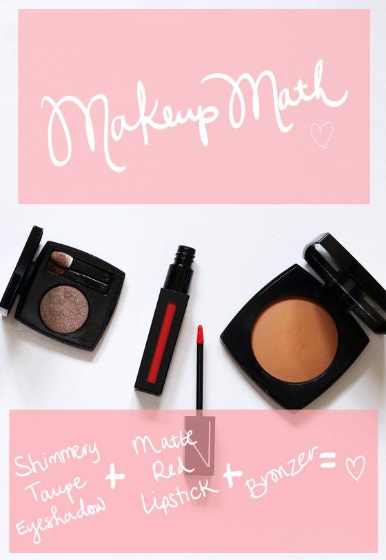 A Makeup Math Formula: Taupe Eyeshadow + Matte Red Lips + Bronzer = Easy Elegance