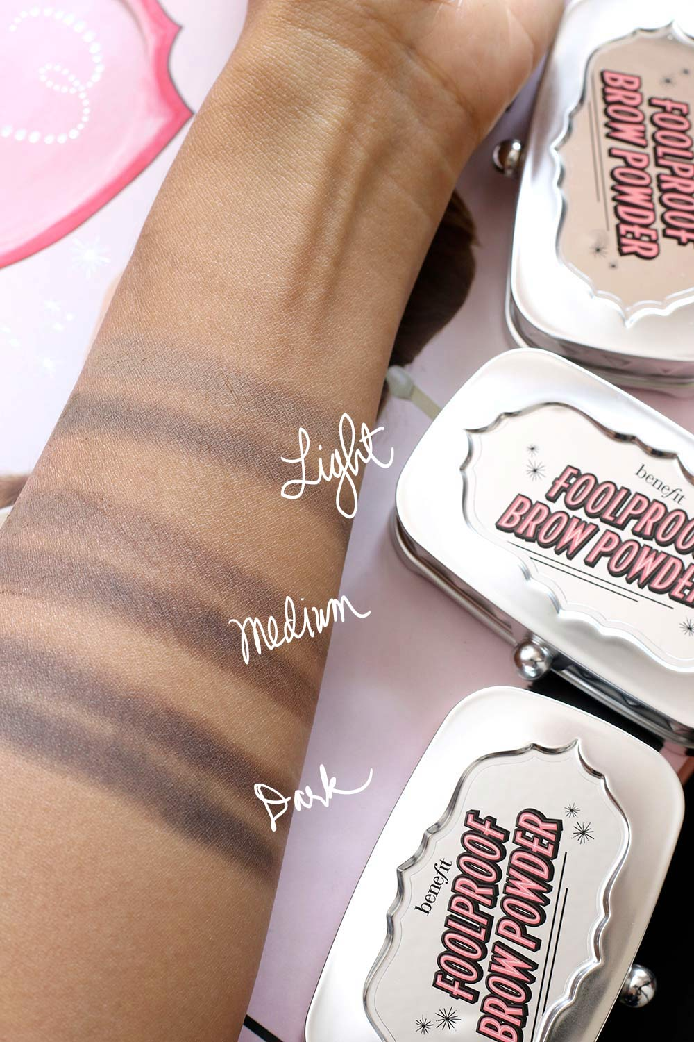benefit foolproof brow powder swatches final