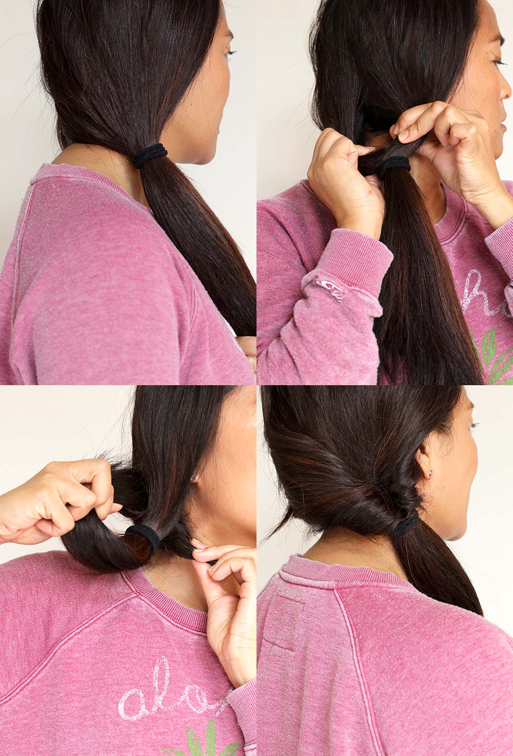 low double side roll ponytail steps
