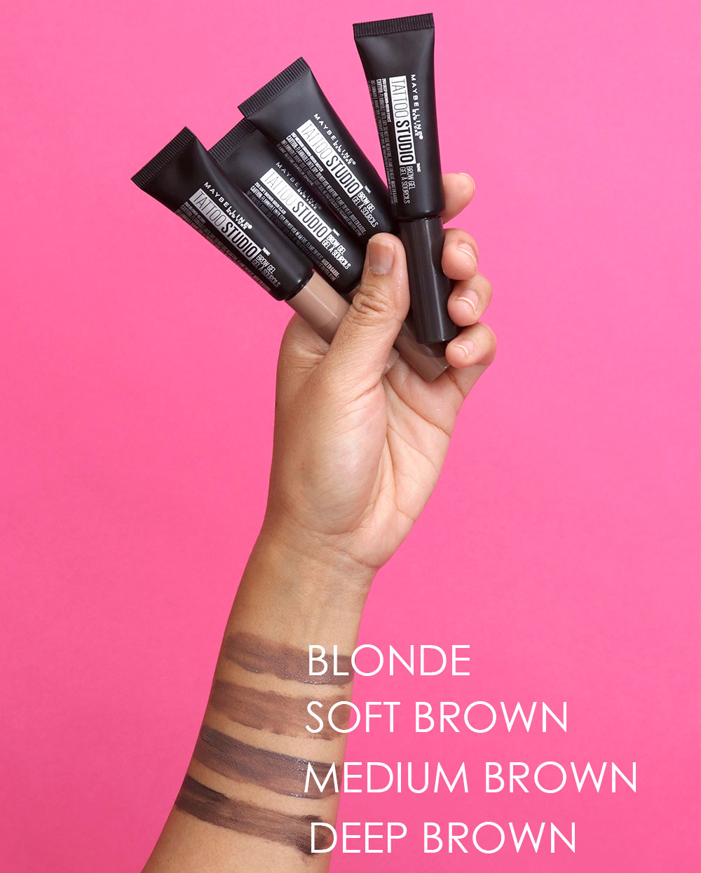 maybelline tattoo studio brow gel swatches before after