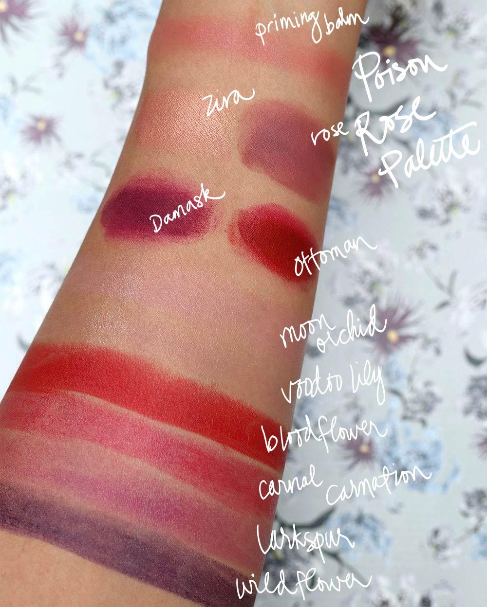 nars erdem swatches lip palette lipstick
