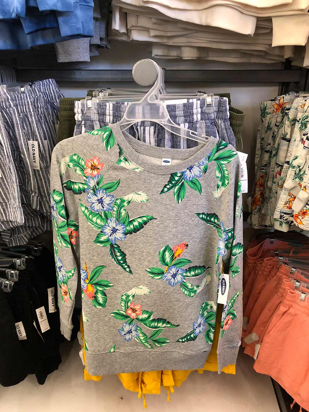old navy tropical print gray sweatshirt