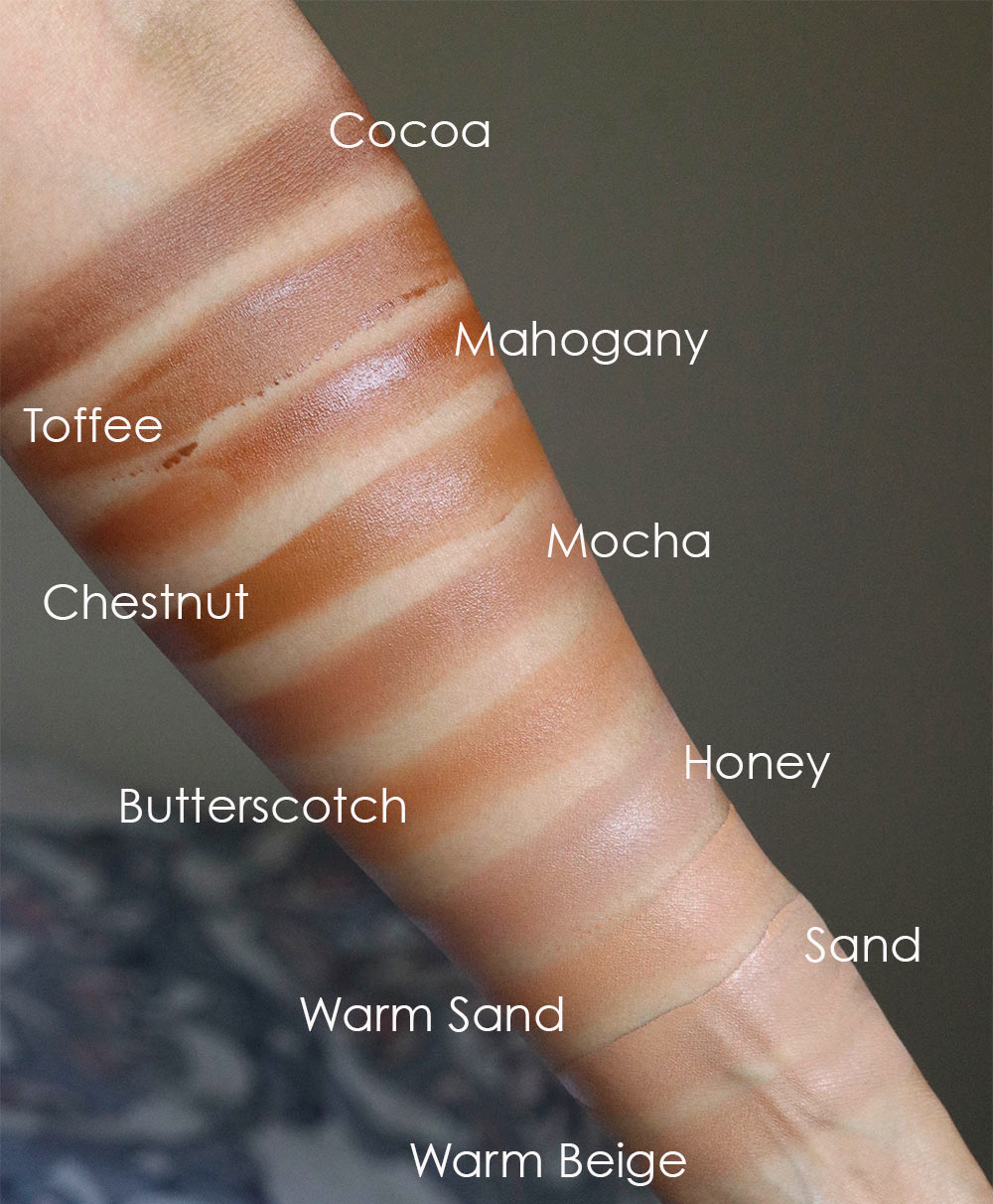 too faced peach perfect foundation swatches 2