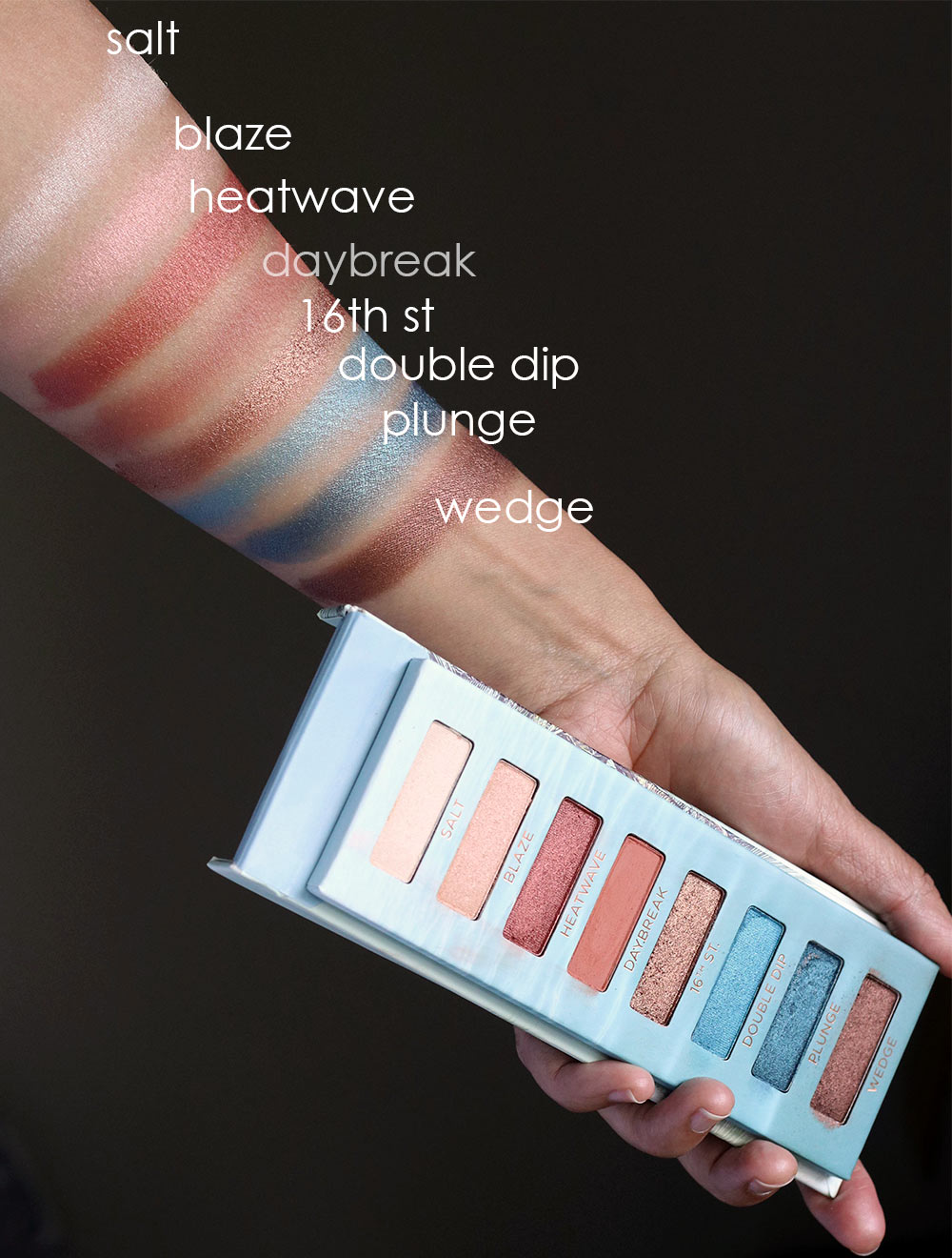 urban decay beached palette swatches