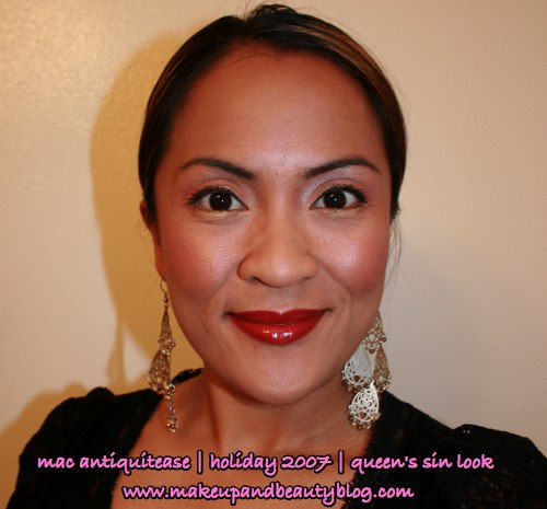 mac-antiquitease-queens-sin-holiday-2007-engaging-mineralize-eye-shadow-uppity-blacktrack-fluidline-red-romp-lipglass-fotd-final