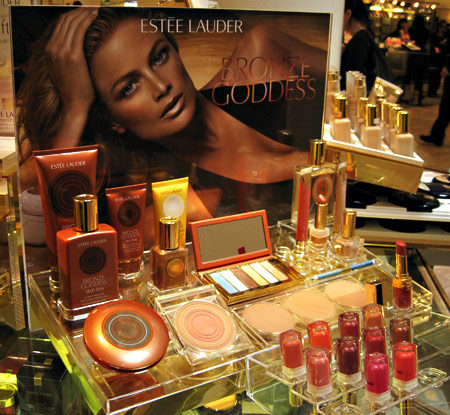 estee lauder bronze goddess display
