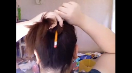 Putting Your Hair in a Bun with a Pencil