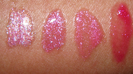 mac doubledazzle dazzleglass swatches rags to riches extra amps steppin out love alert