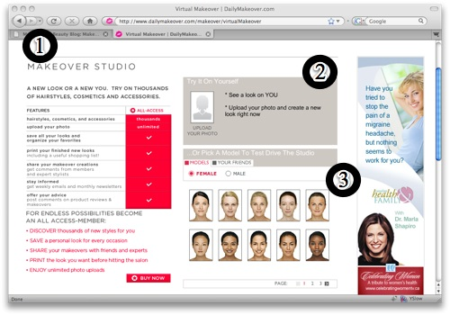 The DailyMakeover Makeover Studio tool