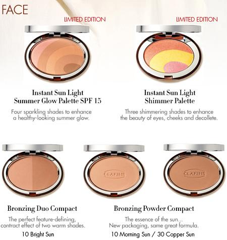 clarins instant sunlight bronzers summer glow shimmer palette