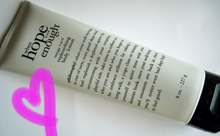 philosophy hope is not enough replenishing body lotion