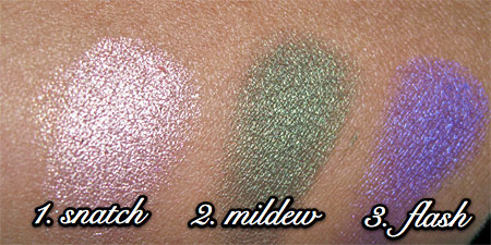 urban decay show pony swatches 1 thru 3