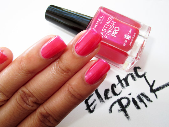 rimmel lasting finish pro polish review swatches electric pink
