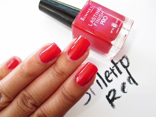 rimmel lasting finish pro polish review swatches stiletto red